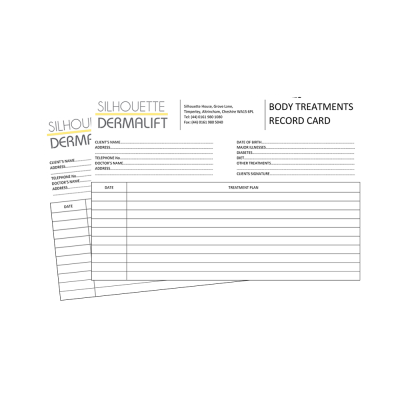 Dermalift Body Record Cards
